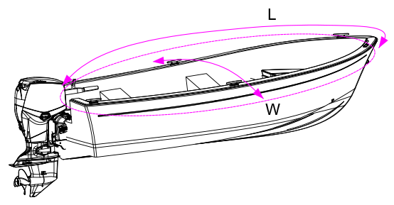Open Boat Cover Measurement Diagram