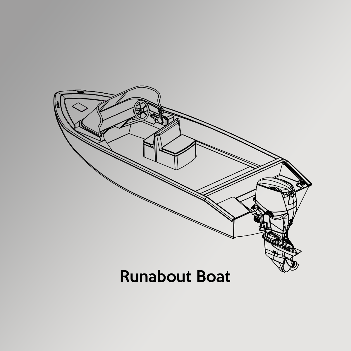 Runabout Boat Drawing