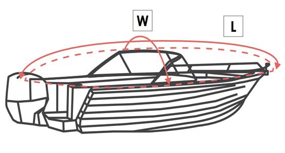 Jumbo Boat Cover Measurement Diagram